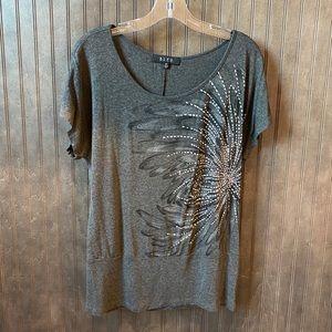 V Neck Embellished Flower Bomb Ever Soft T-Shirt